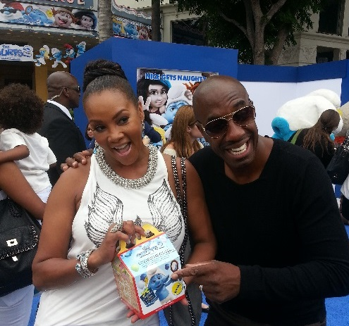 Vivica Fox and JB Smoove on the blue carpet at the LA premiere of Smurfs 2