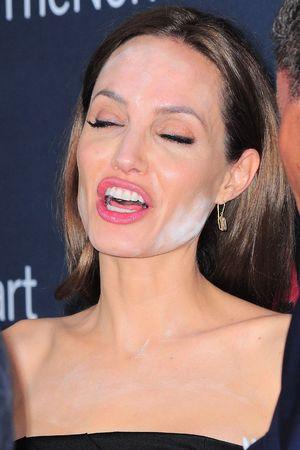 Angelina Jolie White Powder on Face
