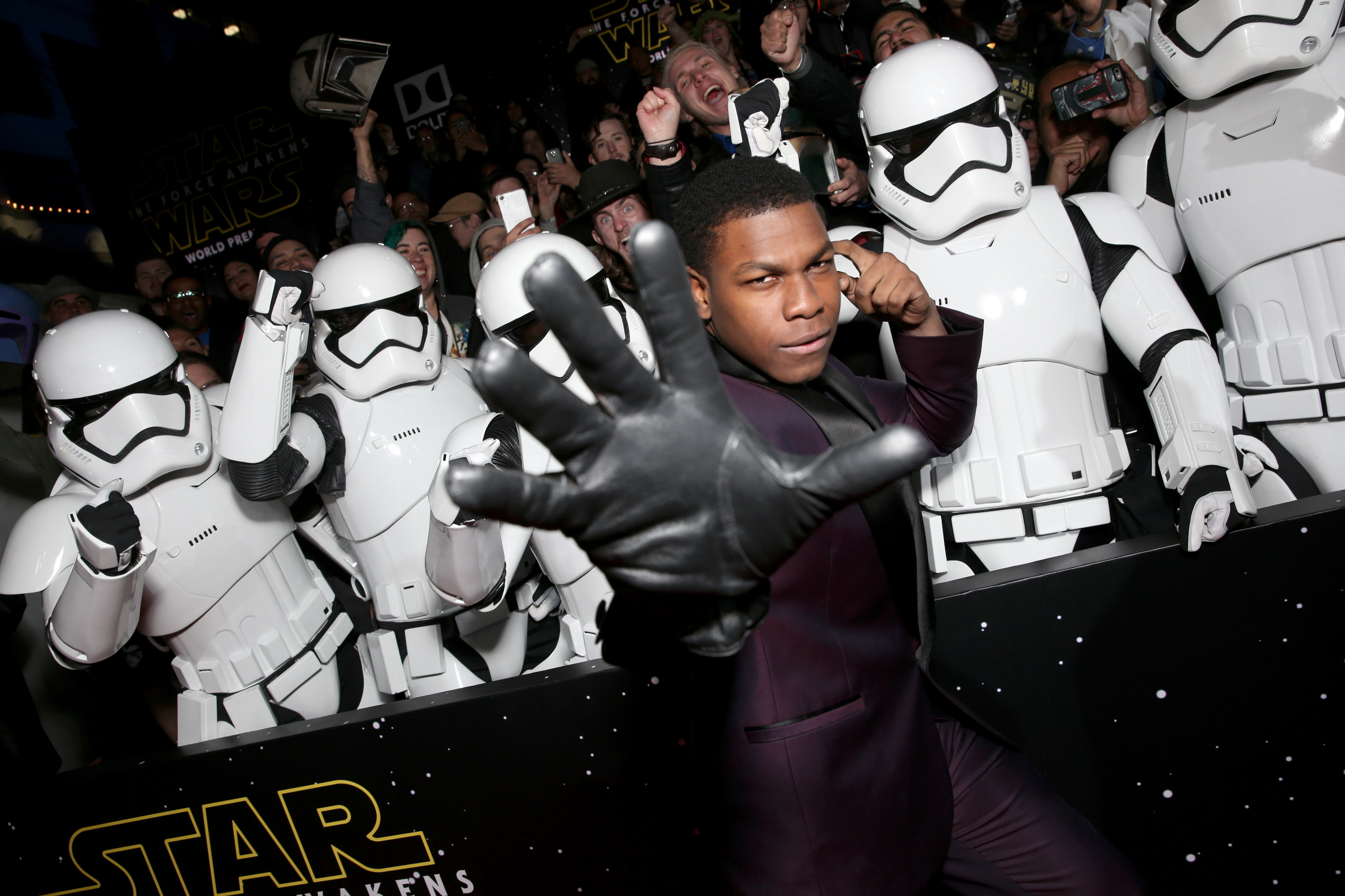 HOLLYWOOD, CA - DECEMBER 14:  Actor John Boyega attends the World Premiere of ?Star Wars: The Force Awakens? at the Dolby, El Capitan, and TCL Theatres on December 14, 2015 in Hollywood, California.  (Photo by Kevin Winter/Getty Images for Disney) *** Local Caption *** John Boyega