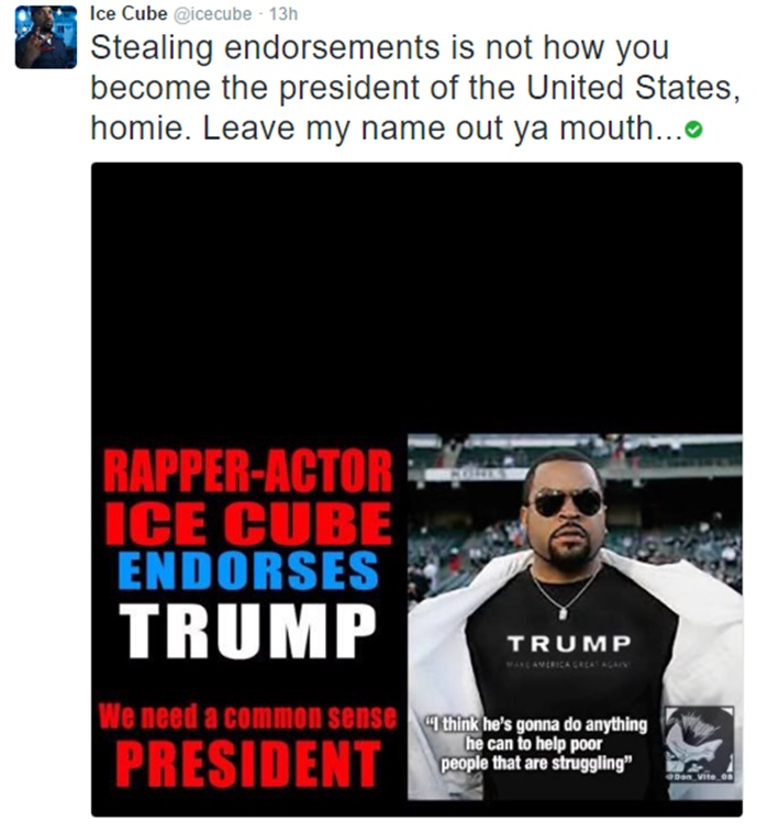 Ice Cube Would NEVER Endorse Donald Trump