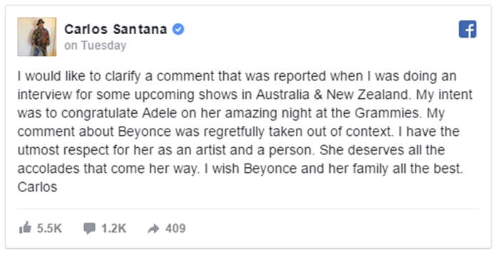 Carlos Santana Clarifies His Beyonce Comment