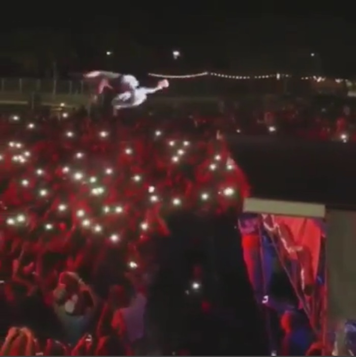 Lil Uzi Vert Does Evel Knievel Two-story Stage Dive