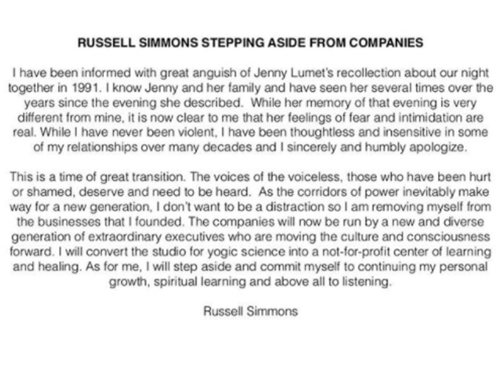 Russell Simmons Resigns + Name Removed From All Projects