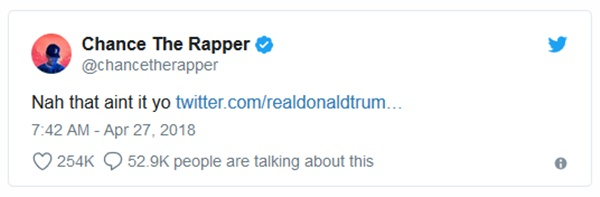 Chance The Rapper Supports Kanye Then Rejects Trump