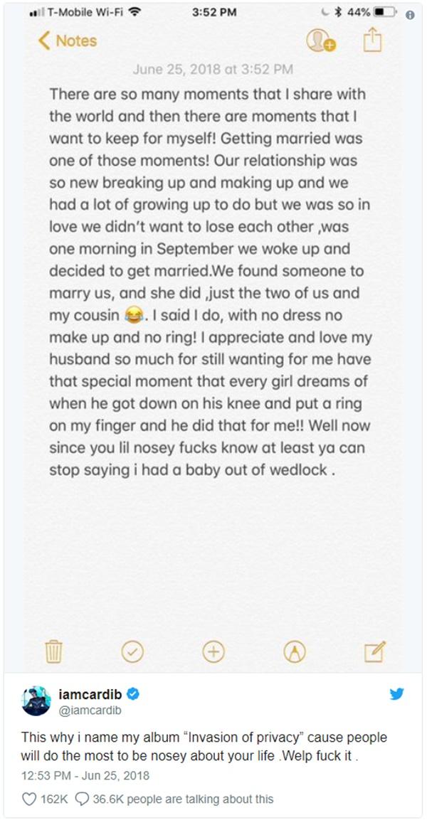 Cardi B, Offset Secret Marriage Confirmed