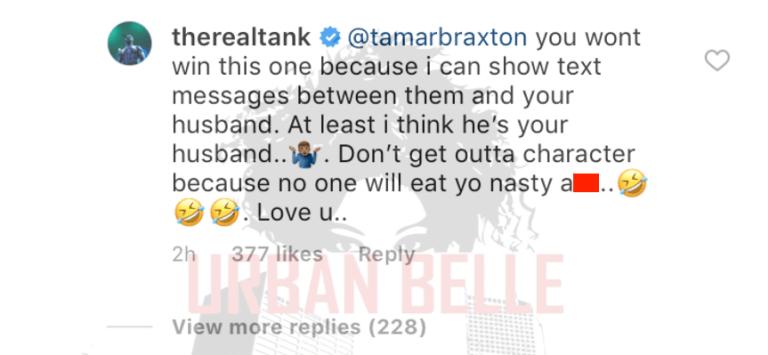 Tank Ignites Feud with Tamar Braxton