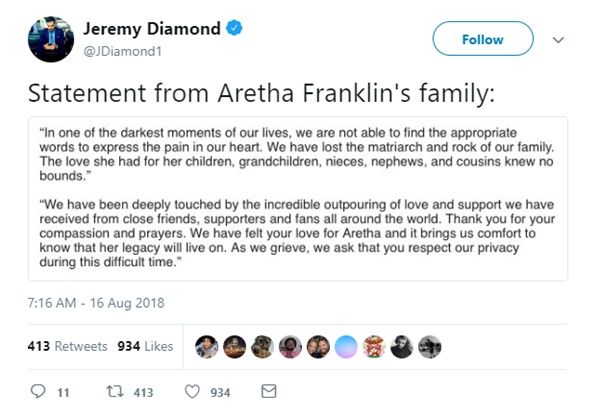 Aretha Franklin Dead At Age 76