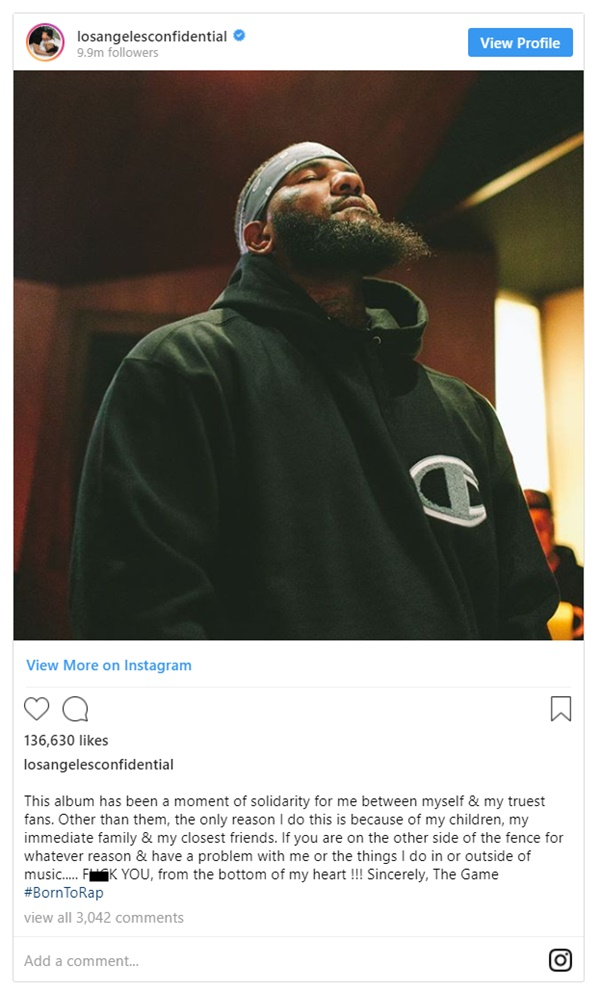 "Game Says New Album ""Has Been a Moment of Solidarity"""