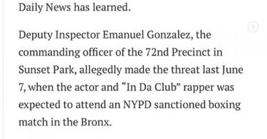 "50 Cent Plans to Sue NYPD Officer Gonzalez For ""Shoot On Sight"" Threat"