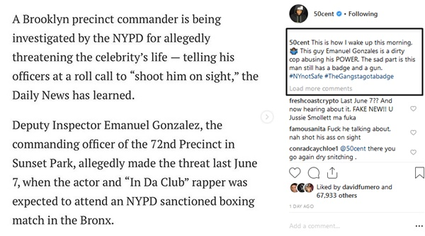 """Get the Strap"" NYPD Officer Investigated for Threatening 50 Cent"