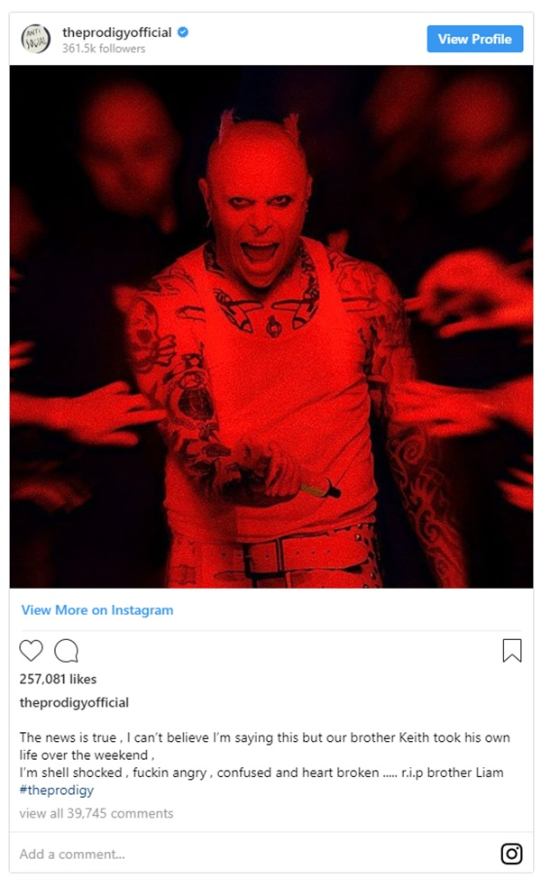 Prodigy Singer Keith Flint Death Ruled Suicide