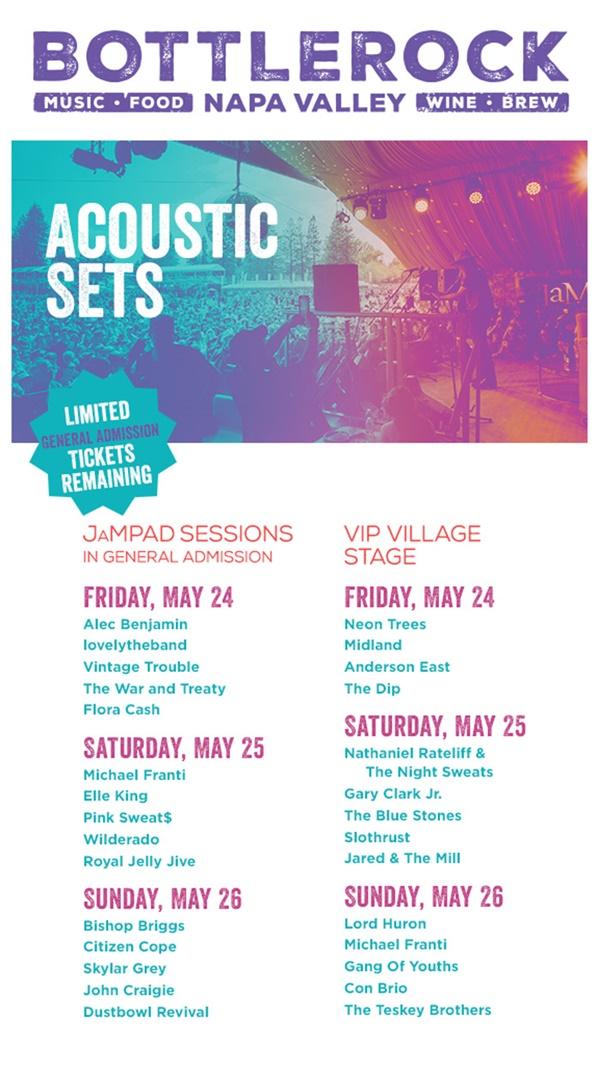 BottleRock Napa Valley Acoustic Sets + Times