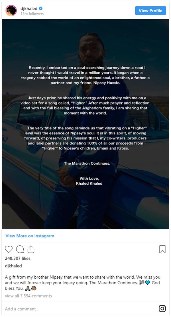 DJ Khaled and John Legend Give Nipsey Hussle's Kids 100% of Proceeds