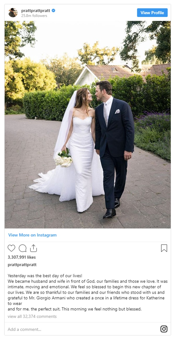 Chris Pratt + Katherine Schwarzenegger Officially Marry