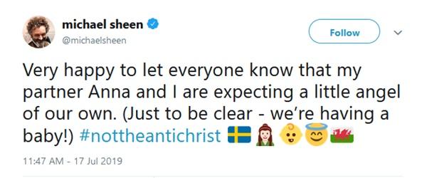 Michael Sheen + Girlfriend Anna Lundberg Expecting Little Angel