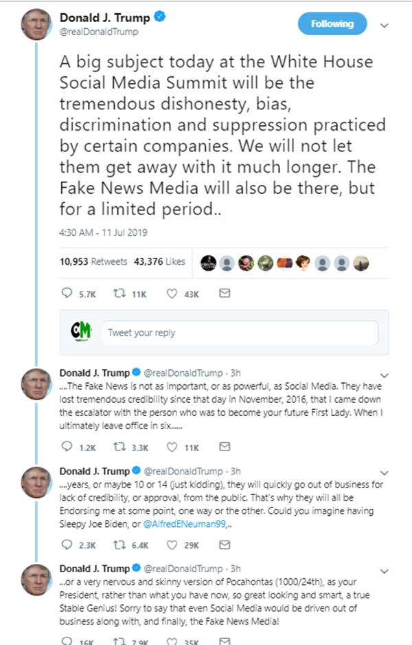 Trump EXCLUDES Prominent Media From Social Media Summit