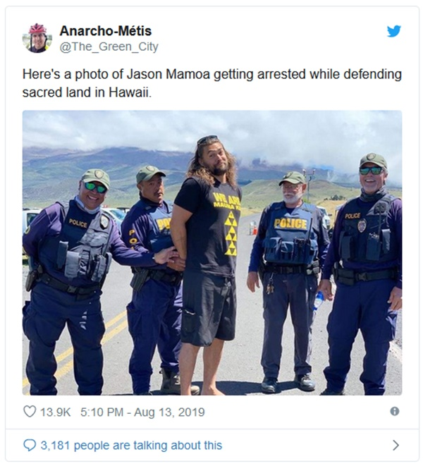Jason Momoa Defends Hawaiian Volcano in Protest