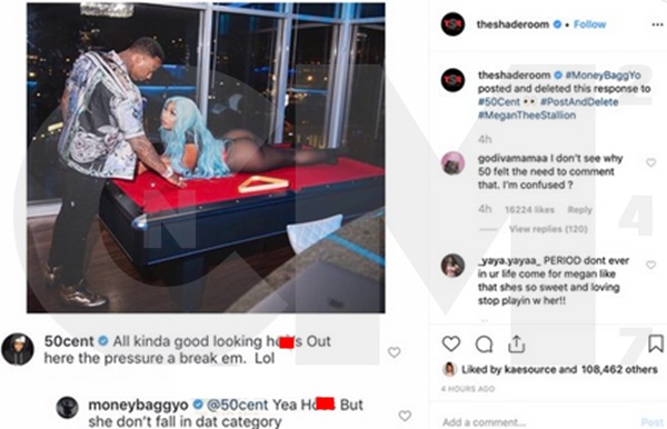 50 Cent Just Called MoneyBagg Yo's Lady Megan Thee Stallion A H**