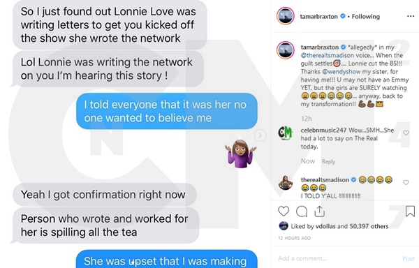Tamar Braxton Text Messages Show Loni Love Was The One