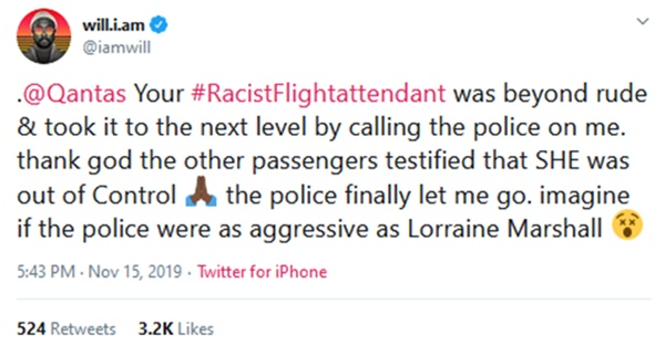 Will.i.am Possibly Facing Lawsuit Over Airline Racism Claims