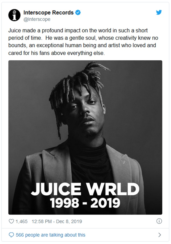 Juice WRLD's Label Releases Statement Regarding Rapper's Untimely Death