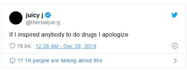 Juicy J Apologizes For Inspiring Drug Use