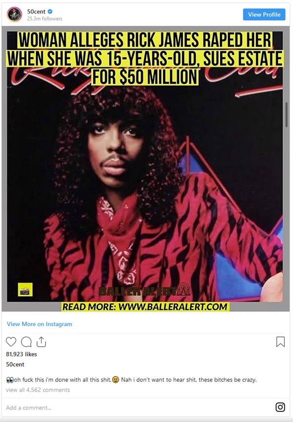 50 Cent RIPS Woman Accusing Rick James of Rape
