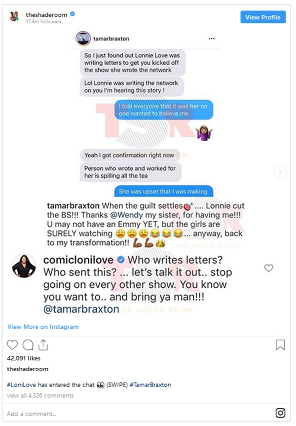 Loni Love CALLED OUT; She Allegedly Got Tamar Braxton Fired