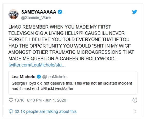 Lea Michele Faces Backlash from Glee Co-Stars After Tweet