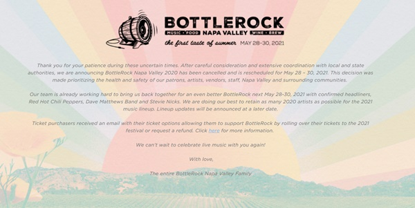 BottleRock Napa Postponed May 2021