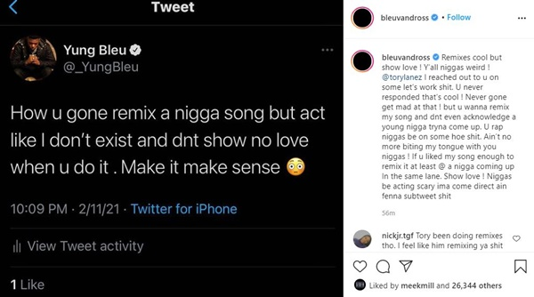 """Yung Bleu DRAGS Tory Lanez For Remix of """"You're Mines Still"""""""