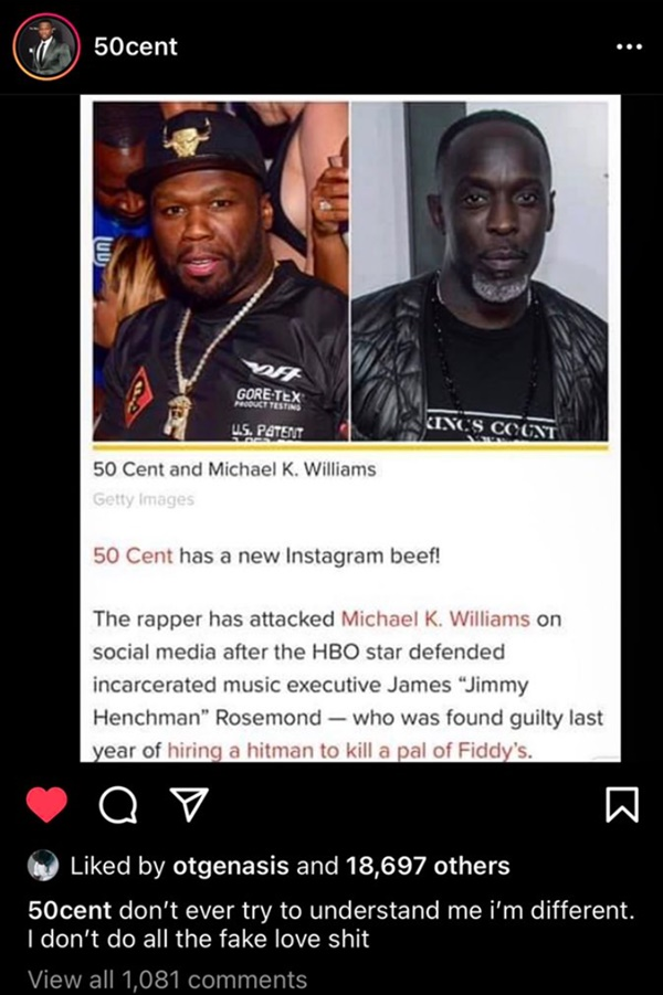 50 Cent BLASTED For Michael K. Williams Post